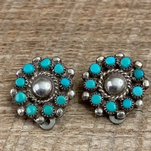Sterling Turquoise Petit Point Clip-On Earrings